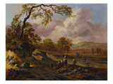 A Wooded Landscape with Peasants on a Path Reproduction procédé giclée par Jan Wynants
