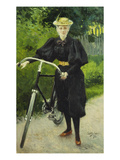 An Elegant Lady with a Bicycle Giclee Print by Paul Fischer