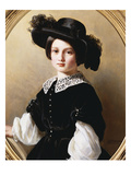 Portrait of a Young Girl, Half Length, Wearing a Black Velvet Costume with  Premium Giclee Print by Franz Xavier Winterhalter