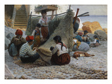 Fisherman Mending Nets, Capri Giclee Print by Theodor Leopold Weller