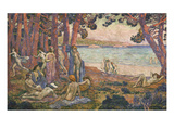 Bathers by the Sea; Baigneuses Au Bord De La Mer Giclee Print by Theo van Rysselberghe