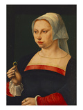Portrait of a Lady, Half Length, Wearing a Dark Dress with Red Sleeves and  Prints by Jan van Scorel (Circle of)