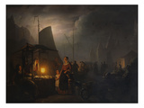 A Market-Square at Night with Several Townsfolk by Dead Game and Grocery Stands, Brussels Prints by Petrus van Schendel