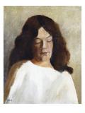 Quarter Length Portrait of a Woman with Her Hair Down; Brustbild Einer Jungen Frau Mit Offenem Haar Affischer av Paula Modersohn-Becker