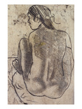 Seated Tahitian Nude from the Back; Tahitienne Nue De Dos Assise Giclée-tryk af Paul Gauguin