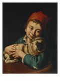 A Boy, Half Length, in a Blue Jacket and a Red Hat, Holding a Pug on a Cushion Giclee Print by Giacomo Ceruti