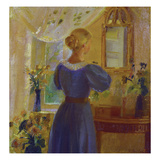 An Interior with a Woman Looking in a Mirror Giclee Print by Anna Kirstine Ancher