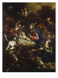 The Nativity with Adoring Angels and the Annunciation to the Shepherds Beyond Posters af Francesco Solimena