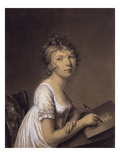 A Woman Drawing a Self-Portrait Giclee Print by Jean-Baptiste-Jacques Augustin