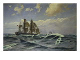 A Sailing Ship in a Heavy Swell Giclee Print by Carl Locher