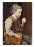 A Boy Eating an Apple Giclee Print by Albert Anker