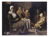 A Peasant Family in an Interior, with an Old Woman Seated, an Old Man Playing a Pipe, a Young Giclee Print
