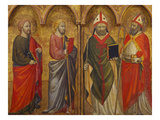 Saint Thaddeus, James the Less, Thomas a Becket and Nicholas of Bari, the A Prints by The Master of San Jacopo a Muciano