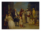 A Group Portrait of Sir Elijah and Lady Impey with their Three Children Giclee Print by Johann Zoffany