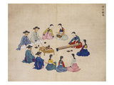 Scholars with Attendants Giclee Print by Kim Junkeun