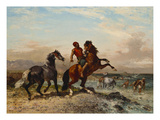 A Coastal Landscape with Horses and Horseman on a Beach Print by Georges Washington