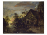 A River Landscape with Peasants Ferrying a Bull, Peasants by a Cottage Beyond Reproduction procédé giclée par Aert van der Neer