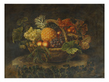 A Basket of Grapes, Peaches and a Pineapple on a Rock in a Landscape Print by Alfrida Vilhelmine Ludovica Baadsgaard