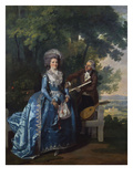 A Group Portrait of a Lady and a Gentleman, in a Landscape, the Lady in a Blue Satin Dress, the… Art by Benjamin Wilson