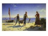 Landing the Catch, Hornback Beach Posters by Herman Carl Siegumfeldt