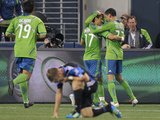 Seattle October 15 - Fredy Montero and Lamar Neagle Photographic Print by Otto Greule Jr