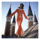 Vogue - December 1966 - Orange Christian Dior Dress Regular Photographic Print by Henry Clarke