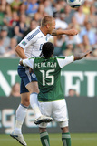 Portland, OR August 20 - Jay DeMerit and Jorge Perlaza Photographic Print by Steve Dykes