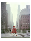 Vogue - August 1958 - Taking A Stroll Photographic Print by Sante Forlano