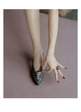 Vogue - April 1957 - Manicured Hand & Lace-up Shoes Regular Photographic Print by Richard Rutledge
