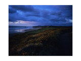 Pacific Dunes Golf Course, Hole 4 at dusk Regular Photographic Print by Stephen Szurlej