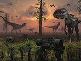 A Herd of Allosaurus Dinosaur Cause Chaos Photographic Print by  Stocktrek Images