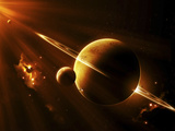 Statek kosmiczny zbliża się do planety leżącej pomiędzy dwoma jasnymi słońcami Reprodukcja zdjęcia autor Stocktrek Images