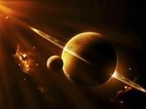 En utomjordisk rymdfarkost närmar sig en planet mellan två solar Fotografiskt tryck av Stocktrek Images,