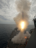 A Tomahawk Missile Launch Aboard USS Preble Photographic Print by  Stocktrek Images