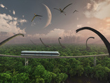 Futuristic Concept of a Monorail Ride Through a Dinosaur Park Photographie par  Stocktrek Images