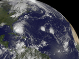 Satellite View of Hurricane Irene Moving Through the Bahamas Photographic Print by  Stocktrek Images