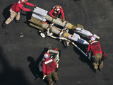 Marines Push Pordnance into Place on the Flight Deck of USS Enterprise Photographic Print by  Stocktrek Images