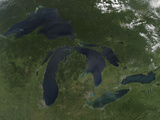 Satellite View of the Great Lakes Photographic Print by  Stocktrek Images