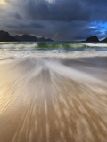 Waves Washing Back to Sea on Haukland Beach, Lofoten, Norway Photographic Print by  Stocktrek Images