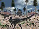 A Pair of Allosaurus Dinosaurs Confront a Lone Stegosaurus Photographic Print by  Stocktrek Images