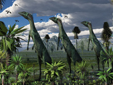 A Group of Lesothosaurus Dinosaurs on the Lookout for Predators Photographic Print by  Stocktrek Images