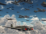 German Heinkel He 111 Bombers Gather over the English Channel Photographic Print by  Stocktrek Images