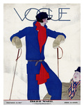 Vogue Cover - December 1927 Gicleetryck av Pierre Mourgue