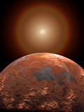 Artist's Concept of a Distant Red Planet Orbiting its Sun Photographic Print by  Stocktrek Images