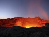 Lava Lake Illuminating Walls of Pit Crater at Night, Erta Ale Volcano, Danakil Depression, Ethiopia Photographic Print by  Stocktrek Images