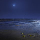 Venus Shines Brightly Below the Crescent Moon from Coast of Buenos Aires, Argentina Fotografisk tryk af Stocktrek Images