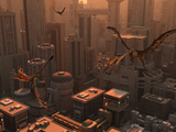Quetzalcoatlus and Eudimorphodon Pterosaurs Fly Through the Sky Above a Futuristic City Photographie par  Stocktrek Images