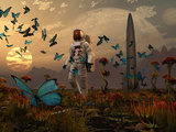 A Astronaut Is Greeted by a Swarm of Butterflies on an Alien World Photographic Print by  Stocktrek Images