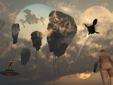 Artist's Concept of Mankind Crossing Paths with Other Space Travelers Photographic Print by  Stocktrek Images