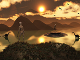 A Distant Alien World Where Reptoids are the Dominant Species and Dinosaurs Roam Freely Photographic Print by  Stocktrek Images